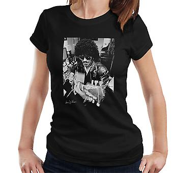 Phil Lynott Of Thin Lizzy Playing Acoustic 1976 Women's T-Shirt