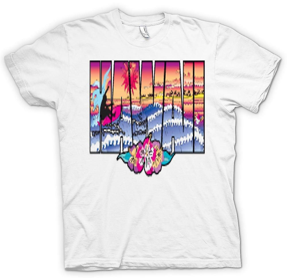 Mens t-shirt-Hawaii Lettering con 80s Design