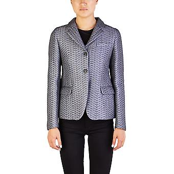Miu Miu Women's Cotton Nylon Blend Quilted Shimmering Coat Silver