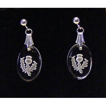 Frosted Thistle Oval Earrings