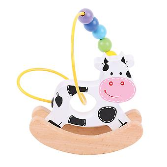 Bigjigs Toys Mini Wooden Rocking Bead Frame (Cow) Traditional Sensory Toys