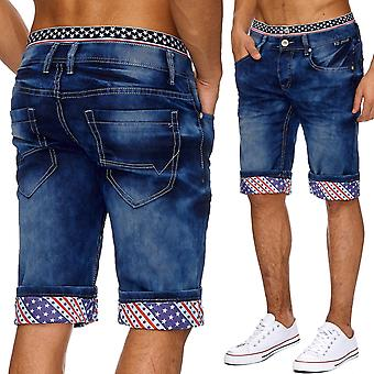 Men's Jeans Shorts Stonewashed Classic Capri Cargo Short Pants Denim Summer