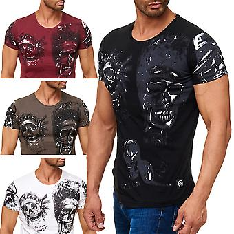 Men's T-shirt short-sleeved shirt Allover Biker skulls Print Indian Skull Head