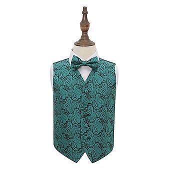 Teal Paisley Wedding Waistcoat & Bow Tie Set for Boys