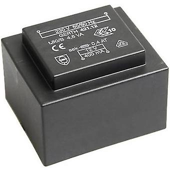 PCB mount transformer 1 x 230 V 2 x 18 V AC 4.80 VA 133 mA