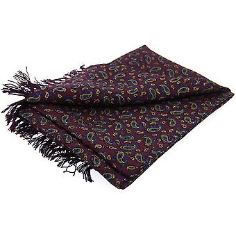 David Van Hagen Paisley Luxury Fashion Silk Scarf - Burgundy