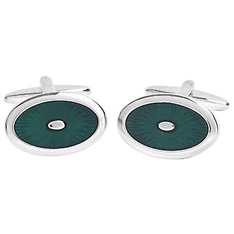 David Van Hagen Shiny Oval Enamel Sunburst Design Cufflinks - Green/Silver