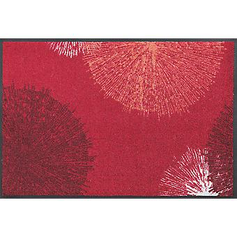 wash + dry red doormat firework washable floor mat