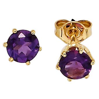 Amethyst earrings 585 Gold Yellow Gold 2 Amethyst violet earrings gold