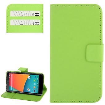 Handyhülle Horizontal Flip mit Credit Card Slots für LG Google Nexus 5 / E980 Grün