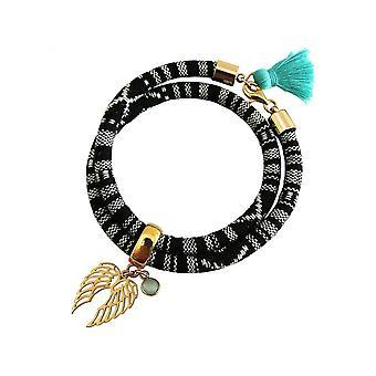 bracelet argent - bracelet - 925 - or plaqué - double aile - Angel - AZTEC - calcédoine - vert de mer