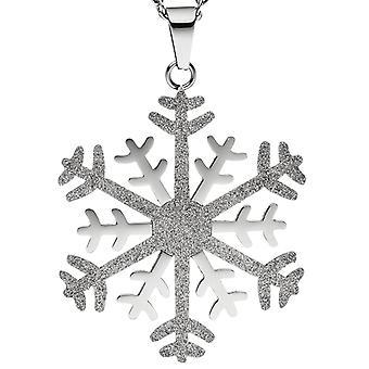 Цепи ожерелье кулон снежинка из нержавеющей стали биколор блеском эффект 42 см