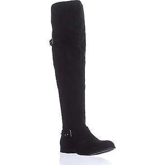 B35 Daphne Over The Knee Riding Boots, Black Micro
