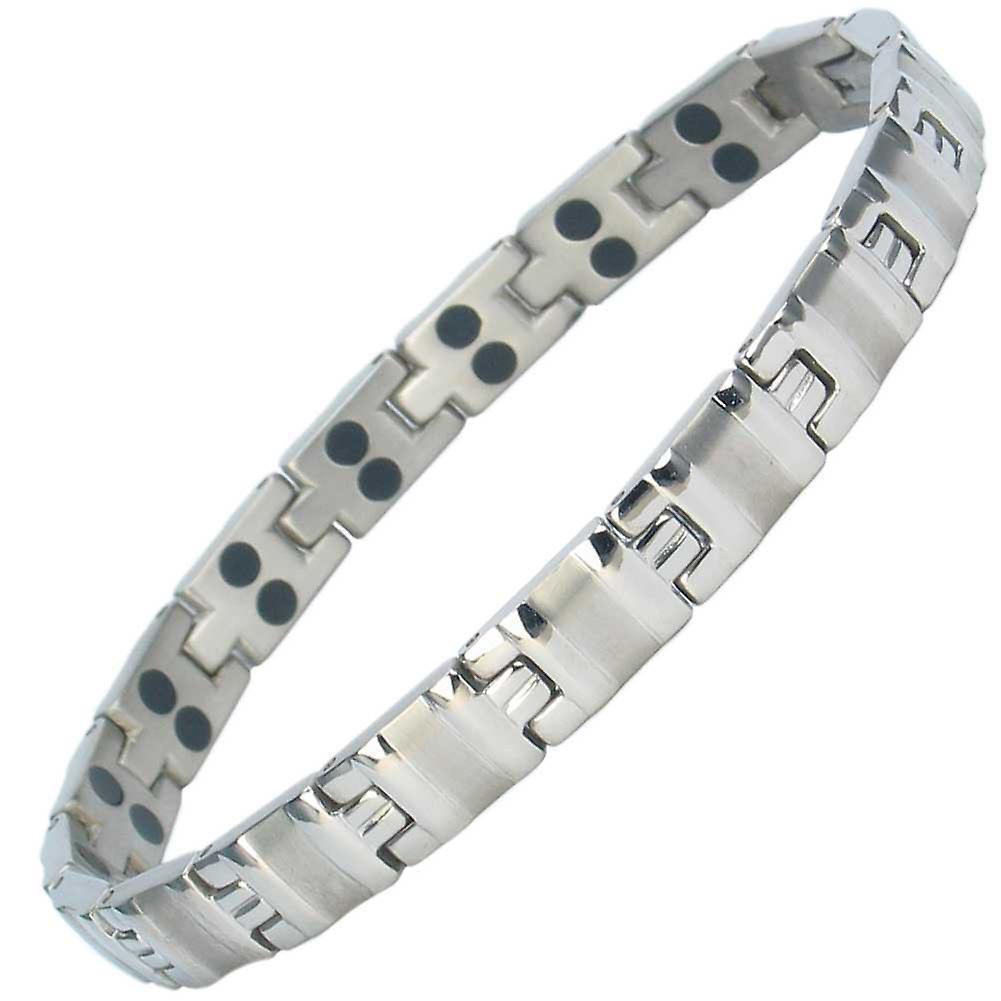 MPS® ALVIN SILVER Titanium Magnetic Bracelet + Free Link Removal Tool