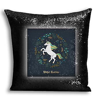 i-Tronixs - Unicorn Printed Design Black Sequin Cushion / Pillow Cover with Inserted Pillow for Home Decor - 12