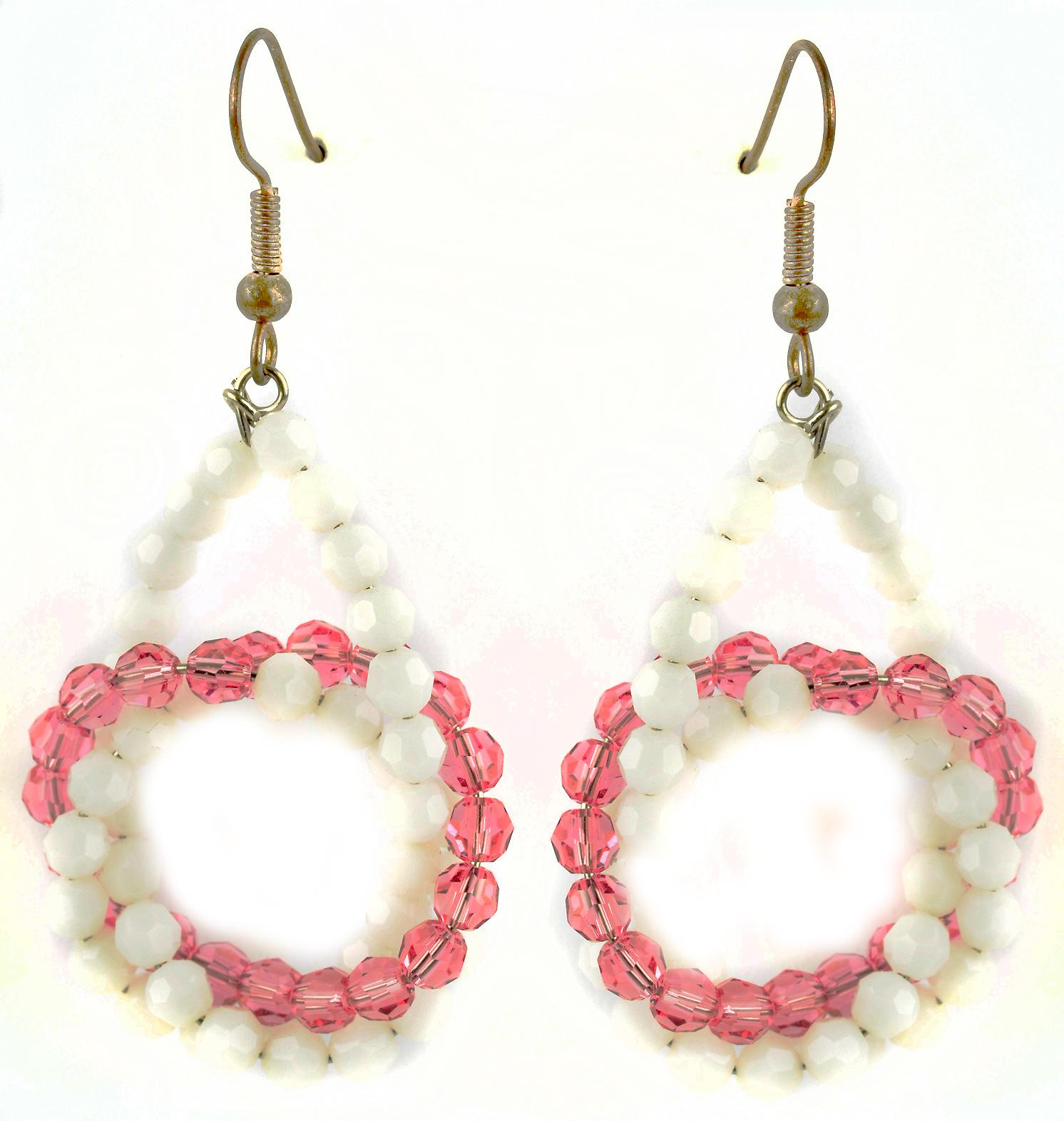 Waooh - Fashion Jewellery - WJ0742 - D'Oreille earrings with Swarovski Strass White and Pink