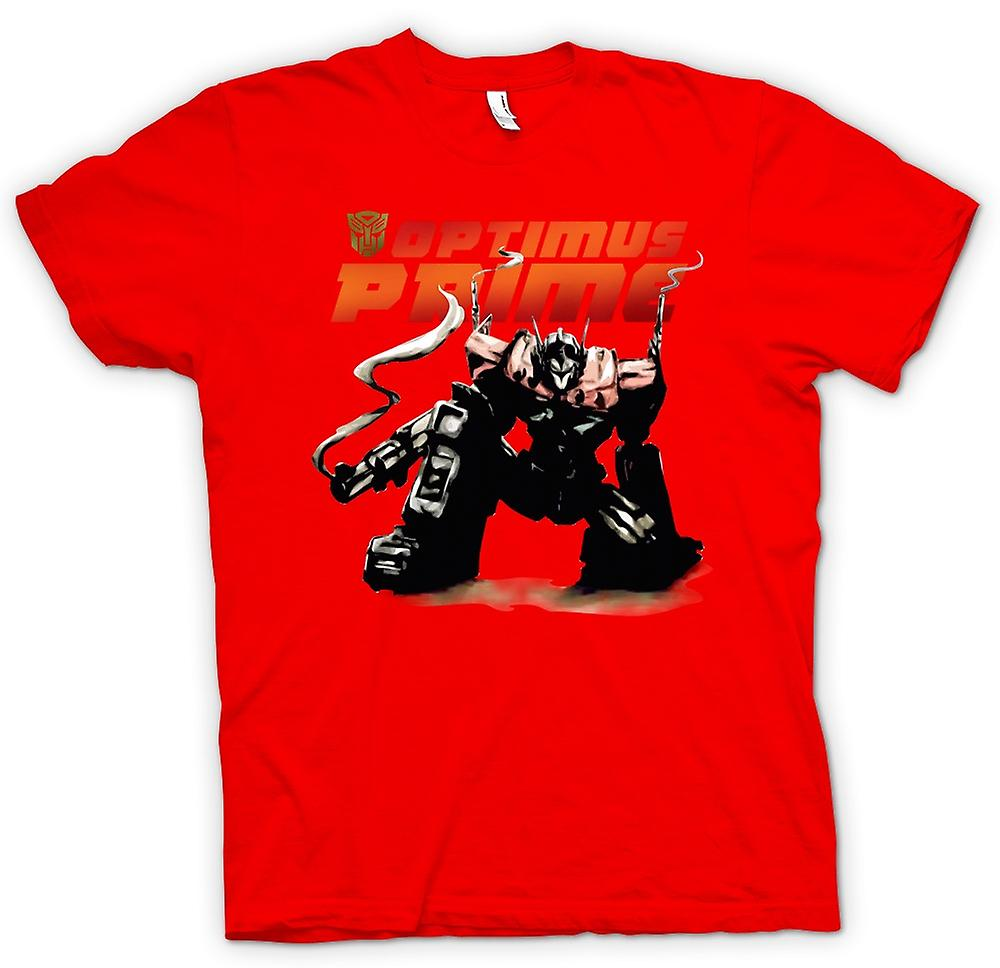 Mens t-shirt-Transformers Optimus Prime che si accovaccia