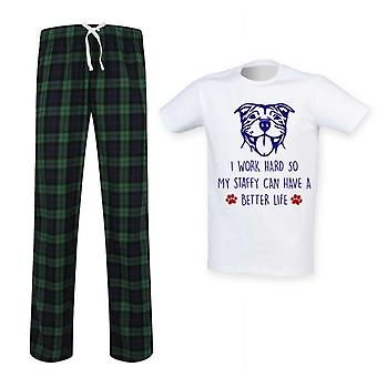Mens I Work Hard So My Staffy Can Have A Better Life Tartan Pyjama Set