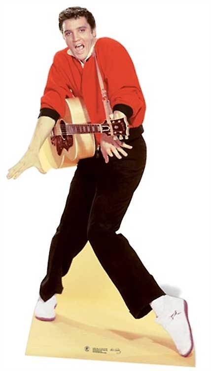 Elvis wearing Red Jacket and Guitar Lifesize Cardboard Cutout / Standee
