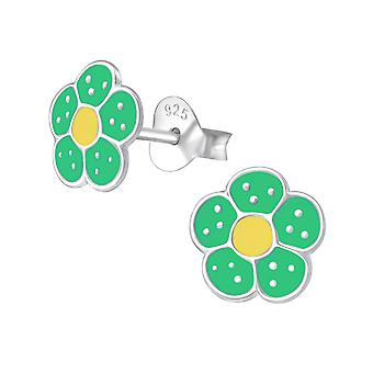 Flower - 925 Sterling Silver Colourful Ear Studs - W971X