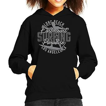Long Beach Surfing Greyscale Kid's Hooded Sweatshirt