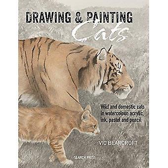 Dibujo y pintura de gatos: Gatos silvestres y domésticos en acuarela, acrílico, tinta, pastel y lápiz