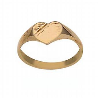 9ct goud 5x5mm hand gegraveerd hart dames of baby's Ring maat G