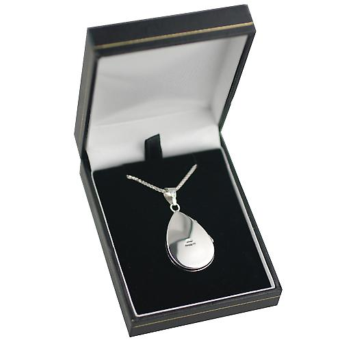 9ct White Gold 28x19mm plain flat teardrop Locket with a spiga Chain 16 inches Only Suitable for Children