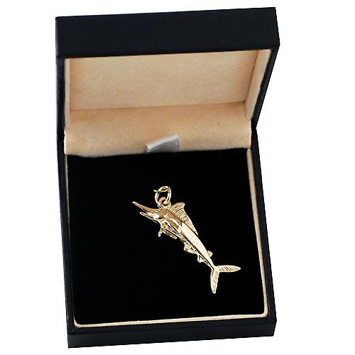 9ct Gold 14x40mm solid Sword Fish charm