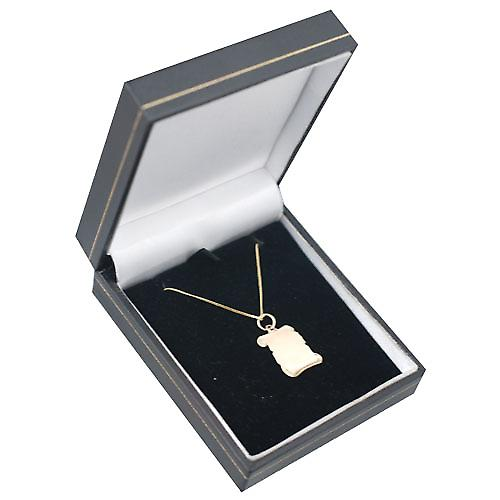 9ct Gold 17x14mm plain Scroll Pendant with a curb Chain 16 inches Only Suitable for Children