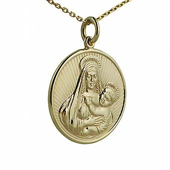 9ct Gold 23mm round Madonna and Child Pendant with a cable Chain 16 inches Only Suitable for Children