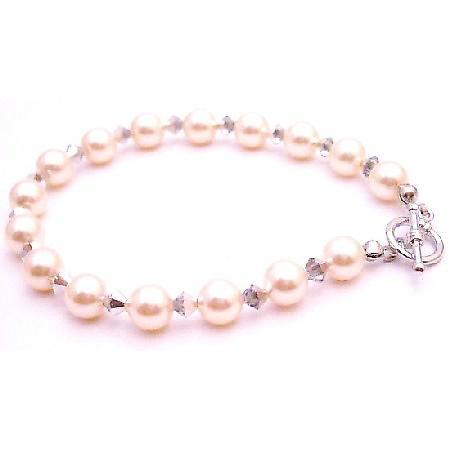 Designer Bridesmaid Jewelry Bracelet Ivory Pearls Comet Crystals