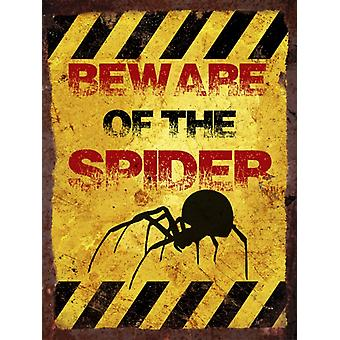 Vintage Metal Wall Sign - Beware of the spider