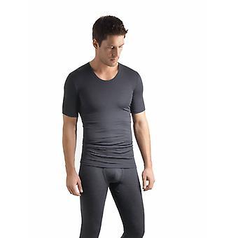 Hanro Mens ski underwear wool and silk T shirt grey