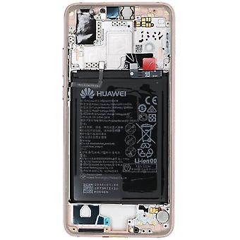 Official Huawei P20 - Pink Middle Frame with Battery | iParts4u