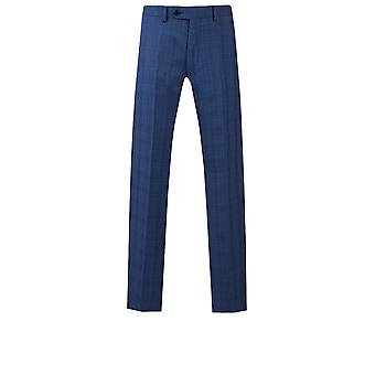 Dobell Mens Blue Check Suit Trousers Regular Fit