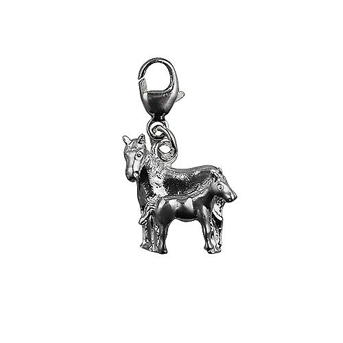 Silver 13x13mm Horse and Foal Charm with a lobster catch