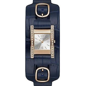 Guess W1136L4 watch - BUCKLE UP box steel Dor pink Leather Bracelet blue dial gray woman