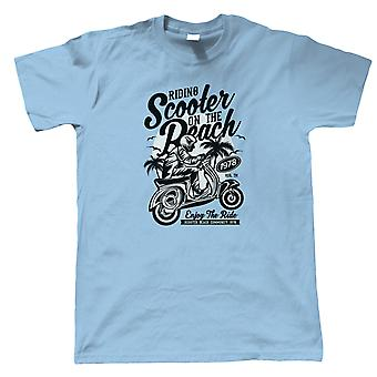 Scooter Beach Mens T-Shirt   Timeless Retro Vintage Iconic Seminal Memorable    Motorbike Scooter Street Cafe Racer Rider Sidecar    Motorbikes Gift Him Dad