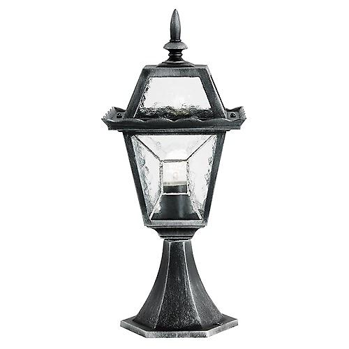 Endon YG-4501 Black Silver Outdoor Pillar Post Top With Leaded Glass