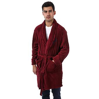 Mens Original Penguin Coral Fleece Dressing Gown In Port- Shawl Collar- Belt