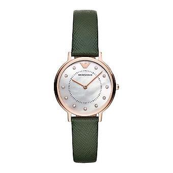 Emporio Armani Ar11150 cinturino in pelle verde quadrante a due lancette orologio da donna