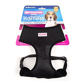 Komfortable Dog Harness schwarz - XS 28-40cm Brust