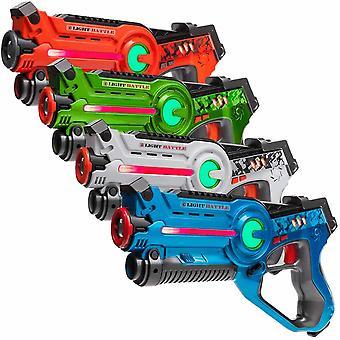 4 Laserpistolen (orange, grün, blau, weiß) + 4 Westen