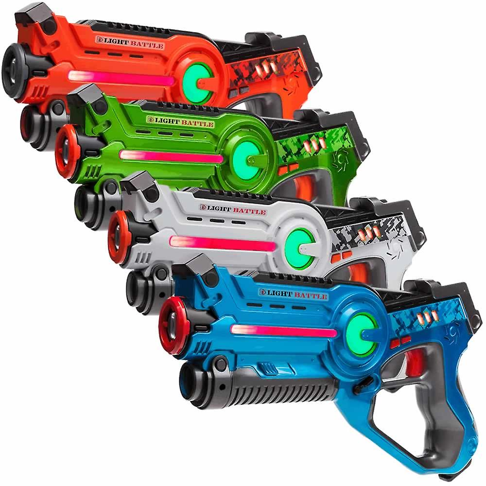 4 laserguns (oranje, groen, bleuw, wit) + 4 Vesten