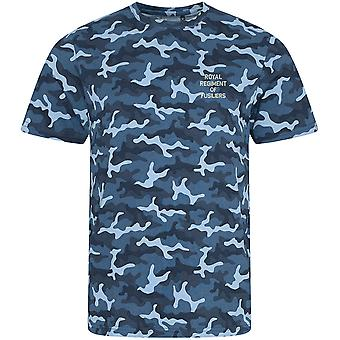 Royal Regiment Of Fusiliers Text - Licensed British Army Embroidered Camouflage Print T-Shirt