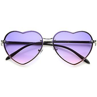 Vrouwen ' s randloze frame bloem accent hart vorm oversize zonnebril 62mm