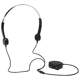 Beinlednings hodetelefoner høreapparat headset, lydforsterker for personer med hørselsnedsettelse-svart