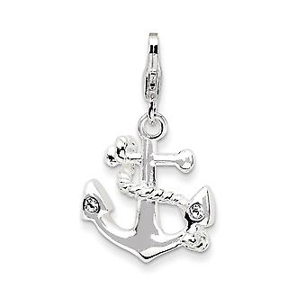925 Sterling Silver Rhodium plaqué Fancy Lobster Closure 3-d Enameled Anchorw Lobster Clasp Charm - Mesures 26x15mm