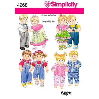 Simplicity 15 Baby Doll Clothes One Size U04268os